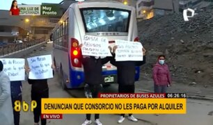 Propietarios de buses azules denuncian que consorcio no les paga alquiler