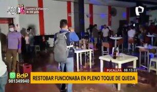 Pucallpa: más de 200 intervenidos en restobar que funcionaba en pleno toque de queda