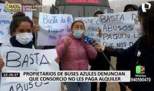 Corredor Azul: presuntos dueños de buses denuncian que no les pagan el alquiler