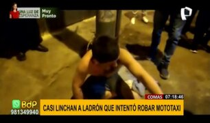 Comas: ladrón casi fue linchado tras intentar robar una mototaxi