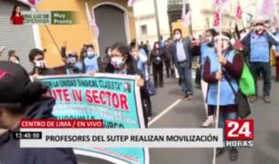 Centro de Lima: profesores del Sutep realizan movilización