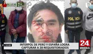 Operativo conjunto entre Interpol de Perú y España logró la captura de 28 requisitoriados