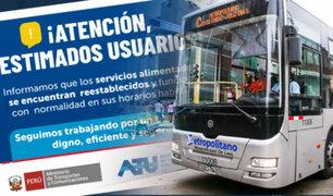 ¡Atención usuario!: Metropolitano funcionará con total normalidad