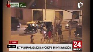 Tumbes: venezolanos agreden a policía durante intervención