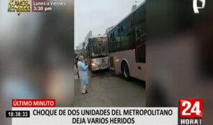 Metropolitano: al menos 18 heridos tras choque de dos buses cerca de Estación Benavides