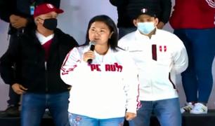 Keiko Fujimori anunció que no aceptará la posible proclamación de Pedro Castillo