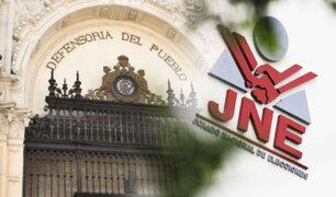 Defensoría del Pueblo: JNE debe resolver impugnaciones en el plazo más breve