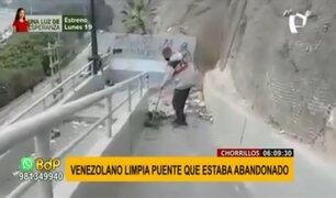 Chorrillos: ciudadano venezolano limpia puente peatonal abandonado