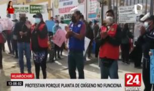 Huarochirí: protestan por planta de oxígeno que no puede operar por electricidad