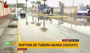 Callao: ruptura de tubería inunda calles en la zona de Chucuito