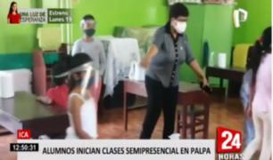 Escolares reiniciaron clases semipresenciales en colegio de Ica