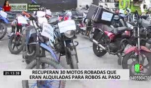 PNP recuperó 30 motos durante operativo en Cercado de Lima