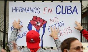 Cubanos en Perú protestaron por segundo día consecutivo frente a la embajada de su país