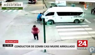 Huancayo: sujeto quedó colgado de parabrisas de combi y casi es arrollado