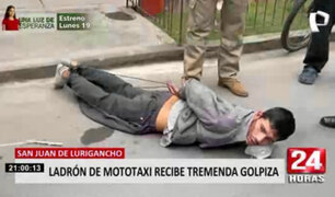 Vecinos casi linchan a ladrón que fue descubierto tratando de robar mototaxi en SJL