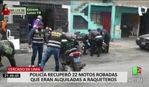 PNP recuperó 20 motos robadas que eran alquiladas a delincuentes