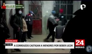 Huancayo: padres castigan a correazos a menores intervenidos bebiendo licor