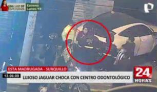 Cámaras registran intento de fuga tras choque de lujoso Jaguar en Surquillo