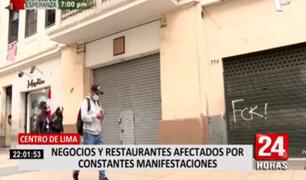 Centro de Lima: negocios afectados por constantes manifestaciones