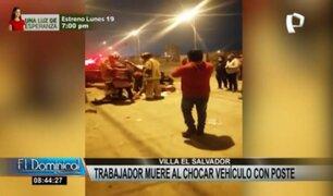 VES: joven muere tras choque de vehículo contra poste