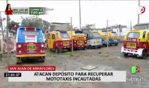 Mototaxistas de varias organizaciones atacaron depósito de SJM por presunto abuso de autoridad