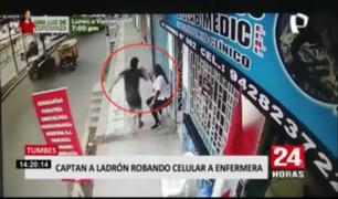 Tumbes: captan a ladrón arrebatando celular a enfermera