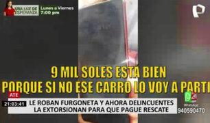 Delincuentes extorsionan a mujer que denunció robo de furgoneta en Ate