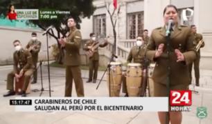 Carabineros de Chile saludan al Perú por sus 200 años de Independencia
