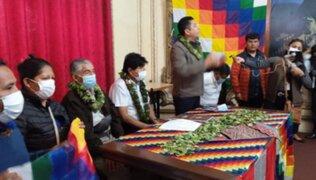Evo Morales se reunió con representantes de Perú Libre en la Casa del Maestro