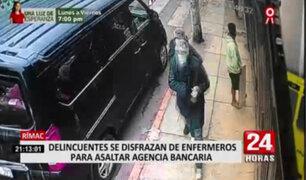 Delincuentes disfrazados de enfermeros asaltaron agencia de Mibanco en el Rímac