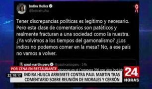 Indira Huilca arremete contra Paul Martin tras comentario sobre reunión de Morales y Cerrón