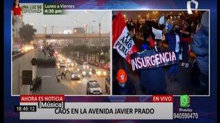 Manifestantes rechazan a Pedro Castillo y bloquean la vía expresa de Javier Prado