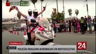 Policía motorizada realiza acrobacias durante celebraciones por el Bicentenario