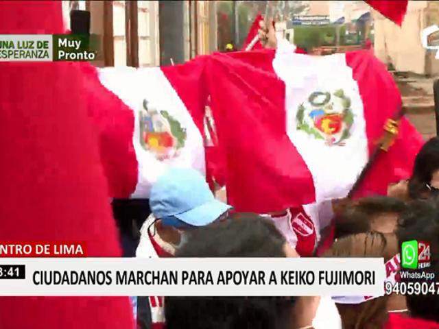 Simpatizantes de Fuerza Popular realizaron manifestación en apoyo a Keiko Fujimori