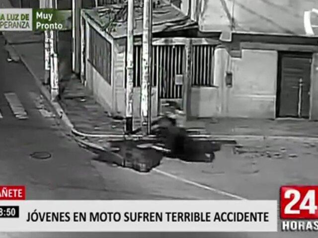 Cañete: cámara capta accidente en motocicleta