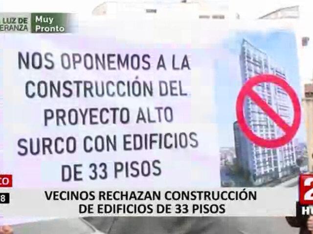 Surco: vecinos afirman que construcción edificios de 33 pisos no serían de interés social