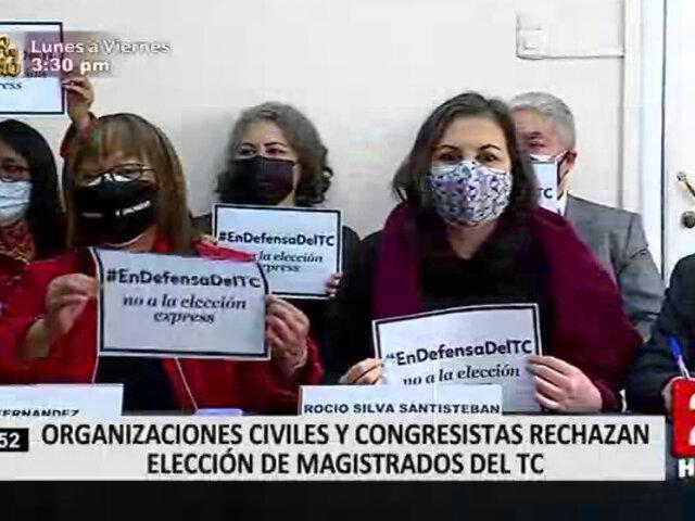 Colectivos y congresistas actuales protestaron por elección de miembros del Tribunal Constitucional