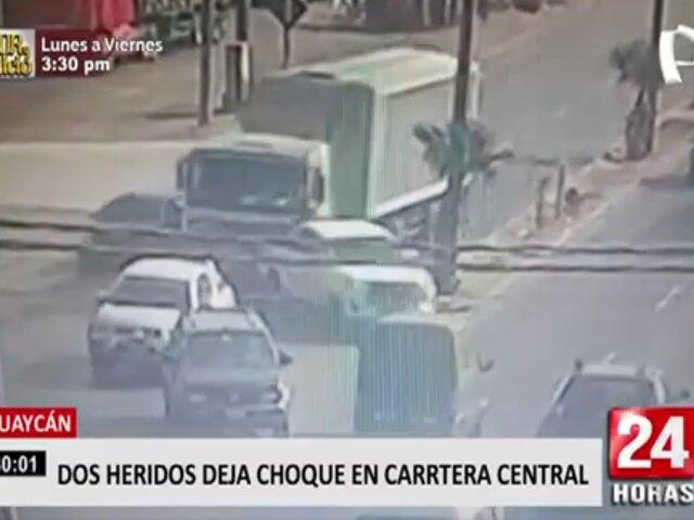 Huaycán: Choque en Carretera Central deja dos heridos