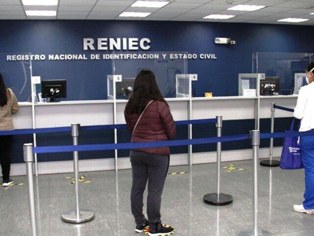 Reniec llama a la ciudadanía a tomar precauciones ante reinicio de atención sin citas