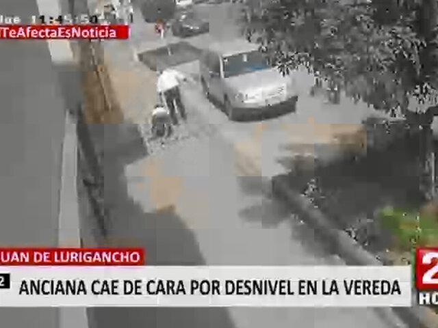 SJL: vecinos de Av. Las Flores denuncian que veredas desniveladas y con huecos los afectan