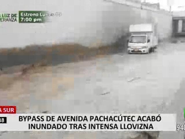Lima Sur: bypass de Av. Pachacútec acabó inundado tras intensa llovizna
