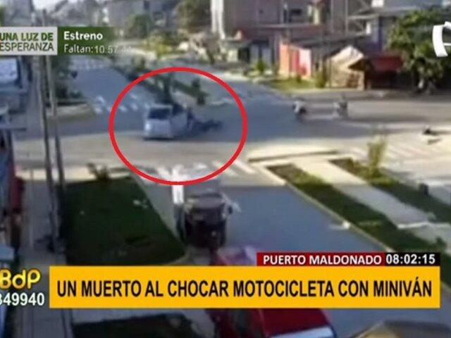 Puerto Maldonado: Motociclista muere tras impactar violentamente contra una miniván