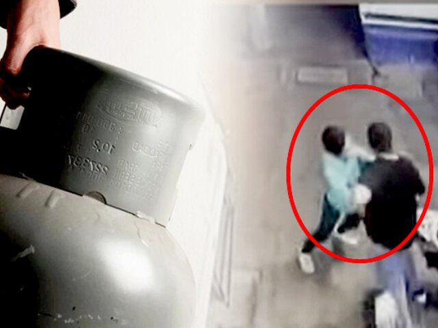 SJL: desconocido agarra a golpes a empresario y le lanza balón de gas a su esposa