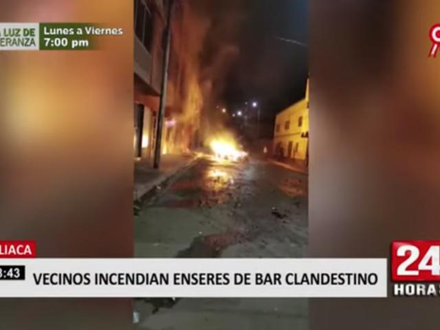Juliaca: vecinos queman enseres de bar clandestino por atender tras clausura