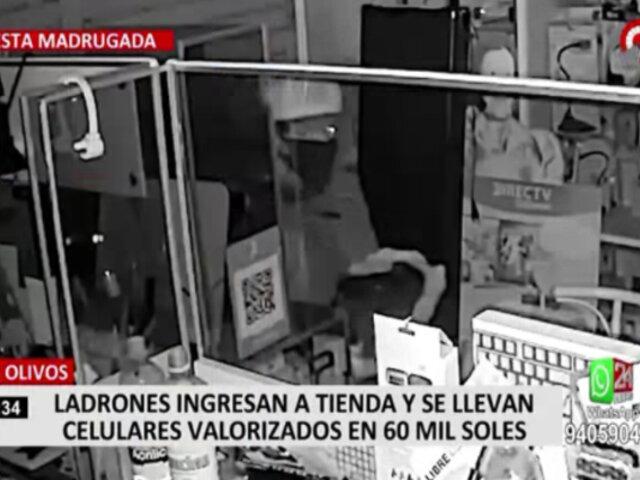 Delincuentes son captados robando en tienda de celulares en Los Olivos