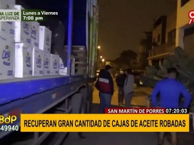 SMP: recuperan cajas de aceite robadas hace 10 días valorizadas en 250 mil soles
