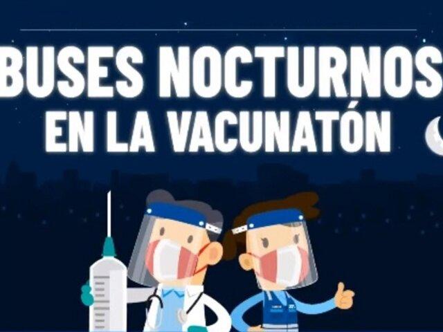 Tercer Vacunatón: habilitarán buses para traslado nocturno de beneficiarios