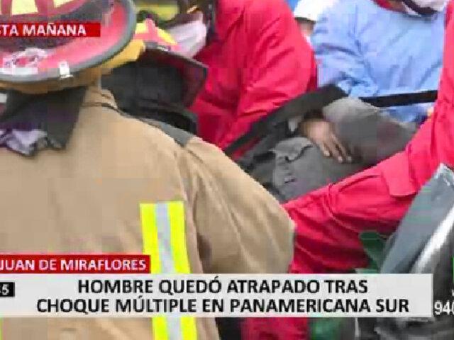 Panamericana Sur: rescatan a chofer que terminó atrapado en vehículo tras quíntuple choque