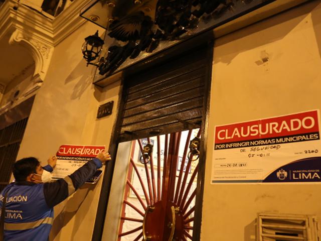 Cercado de Lima: intervienen locales con más de 400 personas en horario de inmovilización