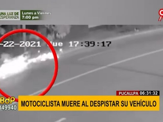 Pucallpa: motociclista sin casco muere tras despistar su vehículo